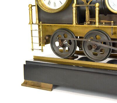 Large French Style 8 Day Brass Automaton Locomotive Industrial Train Clock 9