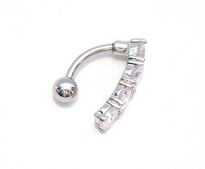 Surgical Steel Curved Barbell CZ Clear Crystals VCH Clitoral Hood 14 gauge 14g