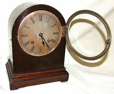 Antique Mahogany Bracket Mantel Clock : Strikes on Hour & Half Past 7