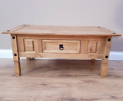 Corona Coffee Table Mexican Solid Pine 1 Drawer Livingroom by Mercers Furniture® 6