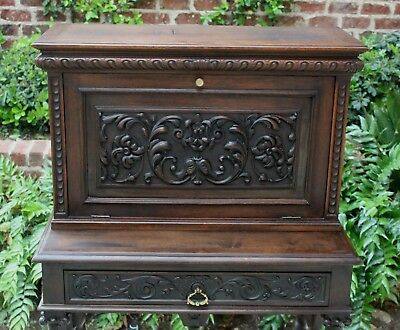 Antique French Walnut BARLEY TWIST Vargueno Fall Front Secretary Desk on Stand