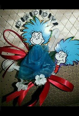 Baby Shower Mommy Corsage Dad Dr Seuss The Cat In The Hat Or Thing