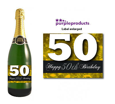 Gold Happy 50th Birthday Glossy Wine & Champagne Bottle Gift Present Label