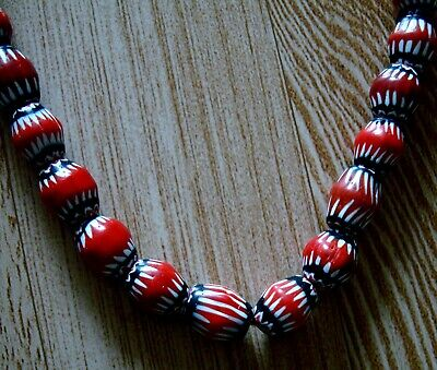 """21"""" 37 Bead Antique Phoenician Blue, White, Red Six Layer Chevron Glass Necklace 4"""