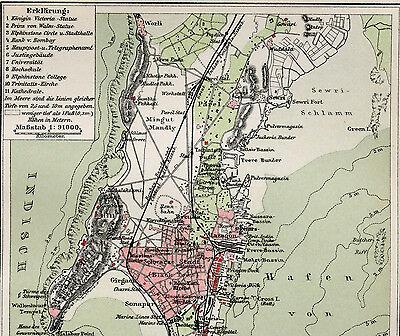 Alte original lithographische Tafel von 1904 Indien Bombay Mumbai Südasien
