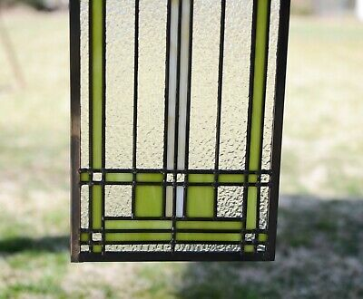"10/"" x 35.25/"" Handcrafted Ginkgo stained glass window panel"