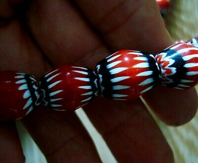 """21"""" 37 Bead Antique Phoenician Blue, White, Red Six Layer Chevron Glass Necklace 6"""