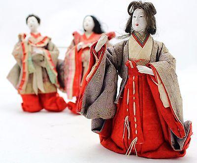 3x antique Hina Ningyo, Japanese Doll, Court Ladies, Gofun Glass eyes Open mouth 5