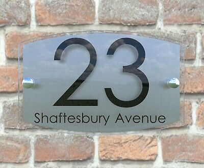 Contemporary House Sign Plaque Door Number 1 - 999 Personalised Name Plate 6