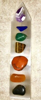 GODDESS BLESSED Chakra Gemstone Set Polished Selenite Rainbow  Crystal Healing 2