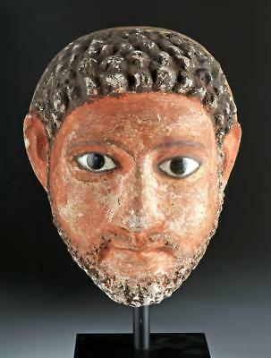 Romano-Egyptian Stucco Head of a Man w/ Glass Eyes Lot 9A
