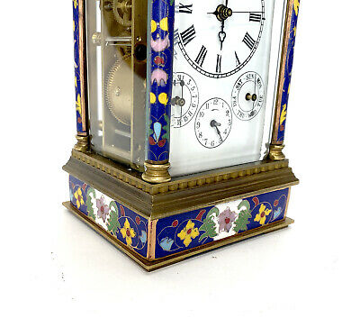 French Style Floral Blue Enamel Brass 8 Day Repeater Calendar Carriage Clock 7