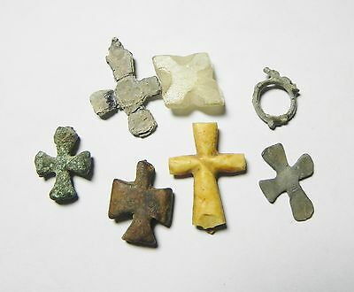 Zurqieh - Byzantine  Egypt - Group Of 6 Cross Amulets, 800 - 1000 A.d 3