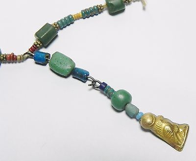 Zurqieh - Q61- Ancient Egypt. Strand Of Faience, Glass And Gold Amulets. 300 B.c 4