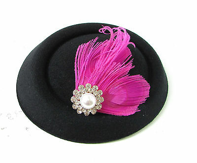 Black Hot Pink Silver Feather Pillbox Fascinator Hat Races Vintage Hair Clip 138 6