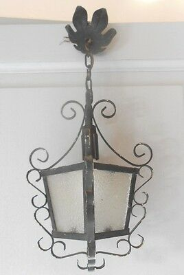 Old FRENCH SCROLLED Iron Glass LANTERN Fixture 4
