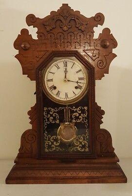 Antique Working 1870's Waterbury Clock Co. Victorian Walnut Parlor Mantel Clock 12