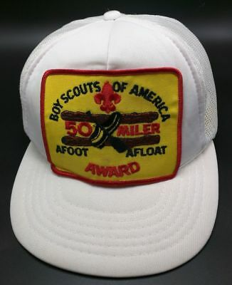 Vintage BOY SCOUTS OF AMERICA 50 MILER AWARD white adjustable cap / hat