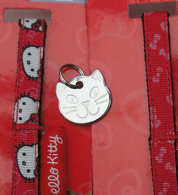Hello Kitty Cat Collars With Engraved Cat Face Tag, Bell & Hello Kitty Charm 2
