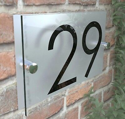 Contemporary HOUSE SIGN / PLAQUE / DOOR / NUMBER / GLASS EFFECT ACRYLIC 6