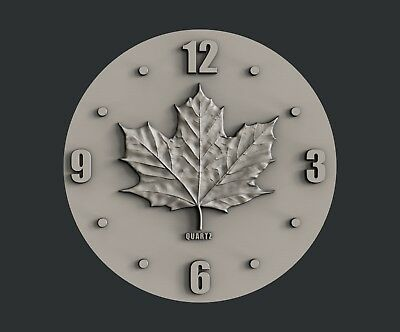3d STL models for CNC, Artcam, Aspire, relief  Flag and Clock Canada 2