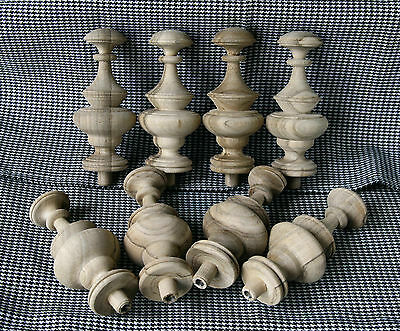 2 Wood FINIALS 95 mm for Antique Wall Clock / Barometer / Mirror / Furniture #12