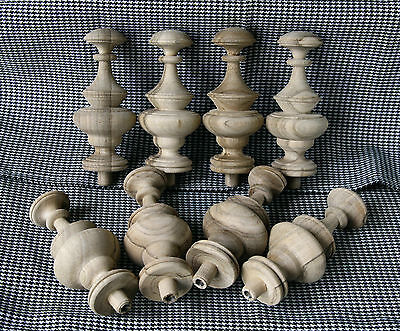 2 Wood FINIALS 95 mm for Antique Wall Clock / Barometer / Mirror / Furniture #12 4