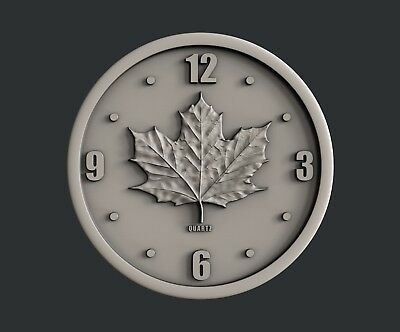 3d STL models for CNC, Artcam, Aspire, relief  Flag and Clock Canada 3