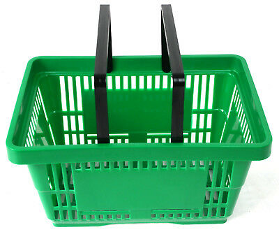 Pack of 20 x 2 Handle Green Plastic Shopping Basket Retail Supermarket Use 3