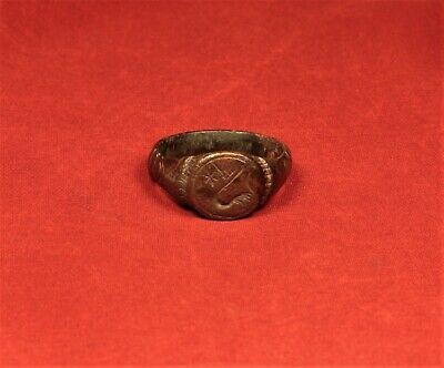 Fine Medieval Knight's Bronze Seal Ring - 12. Century 4
