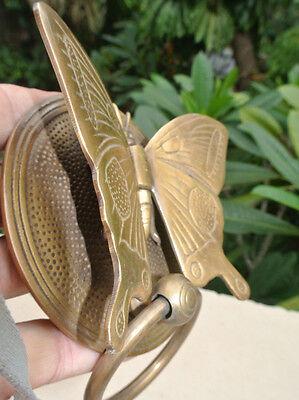 Solid Brass heavy BUTTERFLY Door Knocker 15 cm high, 12 cm wide bolt pull B 5