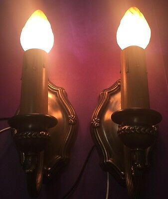 Wired Pair Sconces Vintage Electric Candles Uniform Patina Great! 5