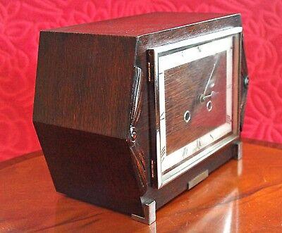 Vintage Art Deco 'Haller' 8-Day Movement Oak Veneered Striking Mantel Clock 6