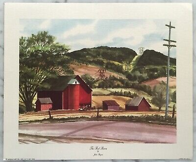 1956 House By A Stream Litho Print USA Donald Art Co
