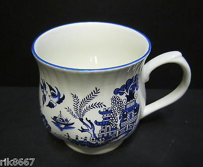 Set of 6 Willow Pattern Bulbous English Fine Bone China Mugs By Milton China 5