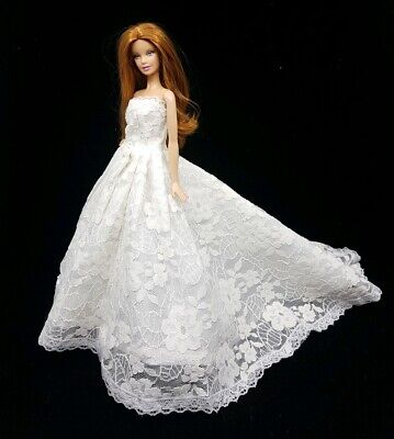 New Barbie doll clothes outfit traditional wedding gown dress off white lace 2