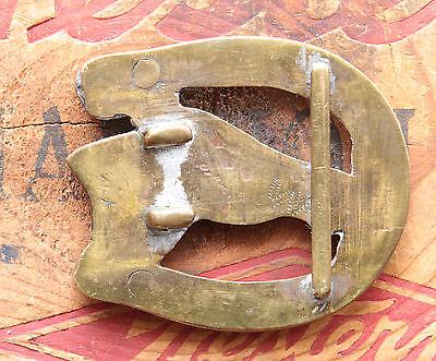 Vtg Small Hand Made Brass Copper Nickel Horse Head Cowboy Western Belt Buckle 5