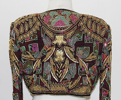 Jasdee Vintage Beaded Bolero Jacket Hand Work & Hand Print On Silk Style 5040 3