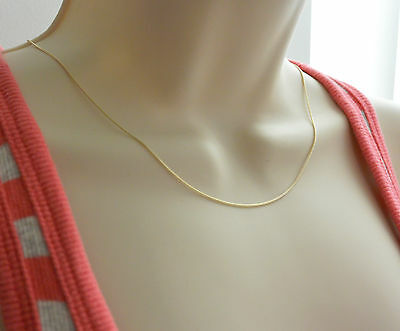 """14K Real Yellow Gold 1mm Braid Square Wheat Chain Necklace 18/"""" Women Children"""