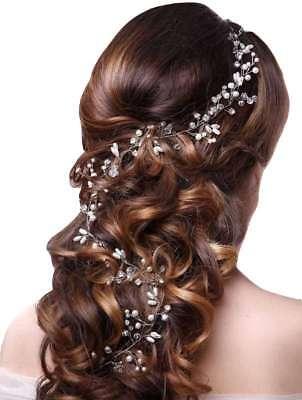 Pearl Hair Vine Wedding Crystal Bridal Accessories Diamante Headpiece Uk 4