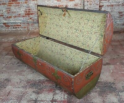 18th/19th century Leather & Brass Cylinder Trunk 3