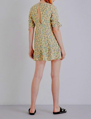 TOPSHOP Brand New Yellow Floral Pink Rose Hook Eye Summer Tea Dress Size 6