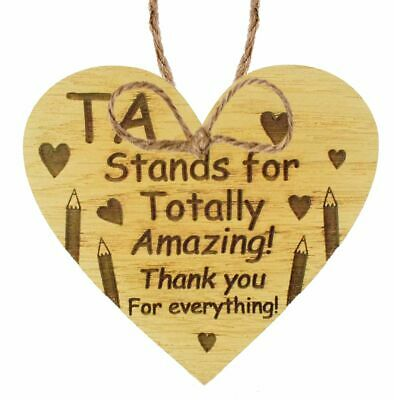 Thank You Gift For Teacher Teaching Assistant Leaving School Gifts Wooden Heart 6