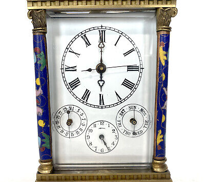 French Style Floral Blue Enamel Brass 8 Day Repeater Calendar Carriage Clock 6