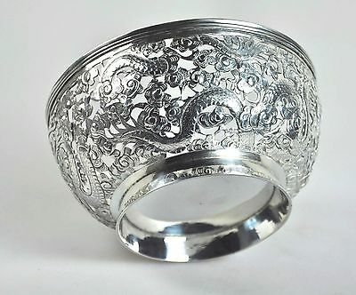 Silver Antique Chinese Export Solid Silver Dragon Bowl China Tuck Chang Qing 1900