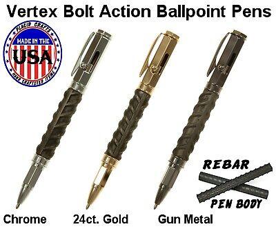 Vertex Bolt Action Ballpoint Pen with Rebar Body & Gunmetal Hardware / #VBAGMR 10