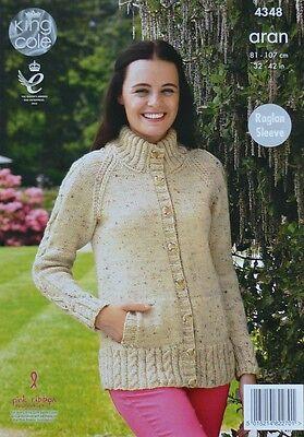KNITTING PATTERN Ladies Raglan Sleeve Roll Collar or Hign Neck Jacket Aran 4348