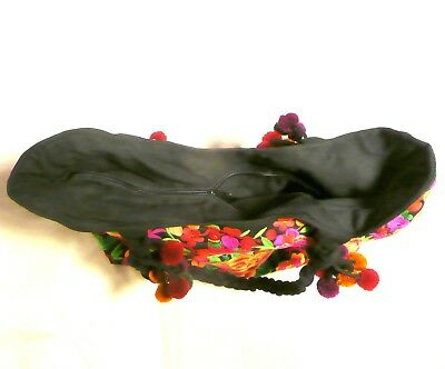 Hand Made Woman Flower Embroidery Ethnic Retro Large Shoulder Bag Purse ToteBag 4