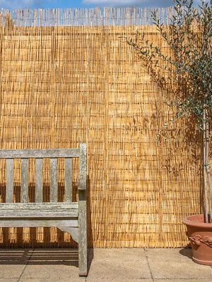 Natural Peeled Reed Screening Roll Garden Screen Fence Fencing Panel Wooden 4m 2