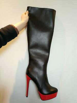 New Women Leather Knee High Boots Zip High Heel Boots Black Shoes Plus Size 4-20 3
